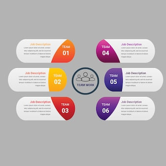 Gradient business infographic element with 6 or steps
