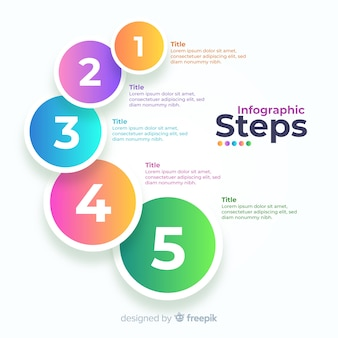 Gradient business infographic steps