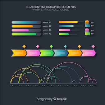 Gradient business infographics elements pack