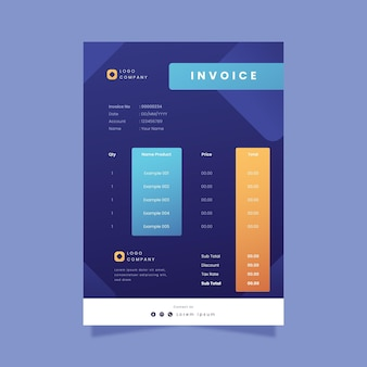 Gradient business invoice sheet template