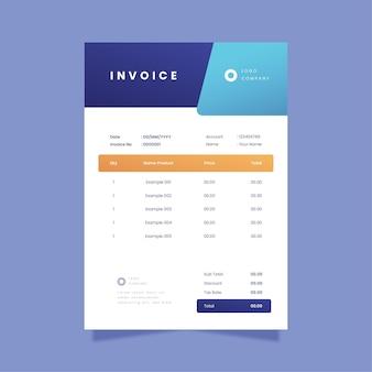 Gradient business invoice sheet
