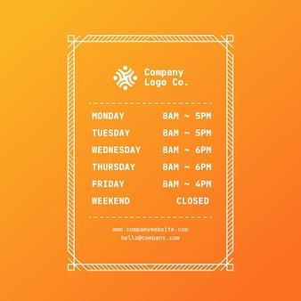 Illustrazione gradiente degli orari di apertura aziendale