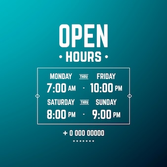 Gradient business opening hours illustration