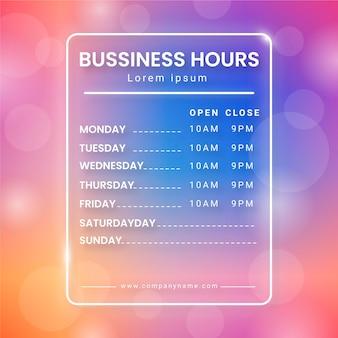 Градиентная иллюстрация часов работы бизнеса