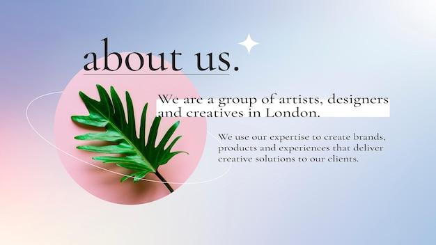 Vettore del modello di presentazione aziendale sfumato con testo modificabile e foto della pianta