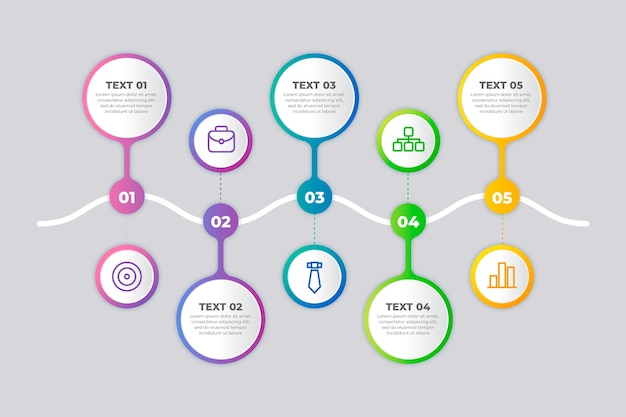 Gradient business timeline infographic