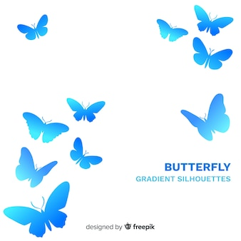 Gradient butterflies flying background