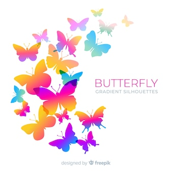 Gradient butterfly silhouette swarm background