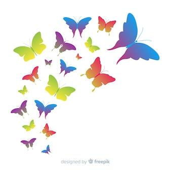 Градиент бабочка рой силуэт фон
