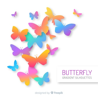 Gradient butterfly swarm silhouette background