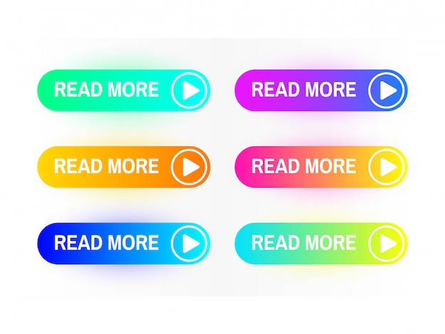 Gradient buttons set isolated on white