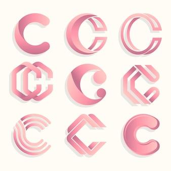 그라데이션 c 로고 템플릿 컬렉션