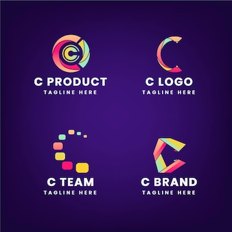 Gradient c logo template collection