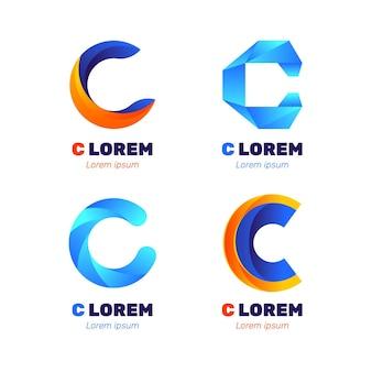 Коллекция шаблонов логотипа градиент c