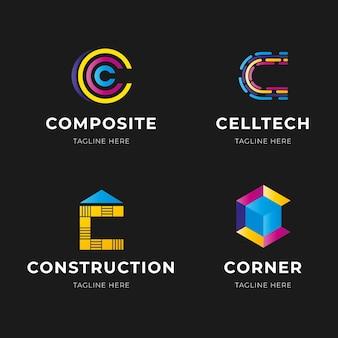 グラデーションcロゴテンプレートコレクション