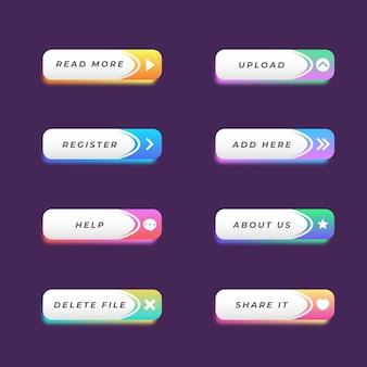 Pacchetto di pulsanti di invito all'azione gradiente