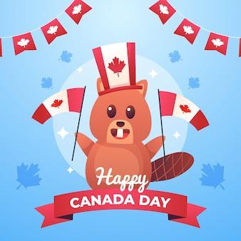 グラデーションカナダの日のお祝いのイラスト