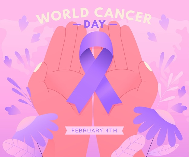 Gradient cancer day ribbon in person hands
