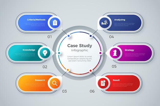 Infografica di casi di studio sfumati Vettore gratuito