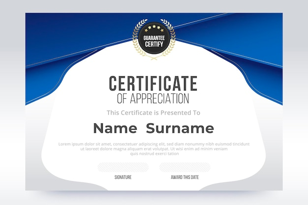 Gradient certificate of appreciation template. blue and white gradient color design.