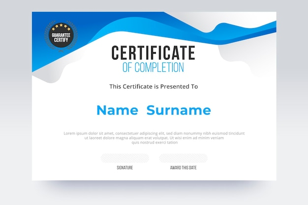Gradient certificate of completion template. blue and white color tone.