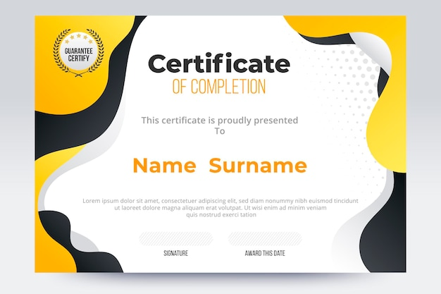 Gradient certificate of completion template. yellow and black color tone.