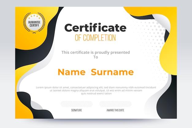 Градиент сертификат об окончании шаблона. желто-черный цветовой тон.