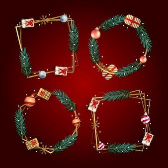 グラデーションのクリスマスフレームとボーダーコレクション