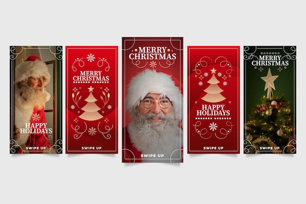 Gradient christmas instagram stories collection