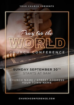 Gradient church flyer template with photo
