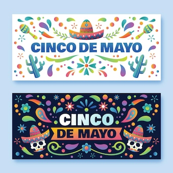 Gradient cinco de mayo banners set