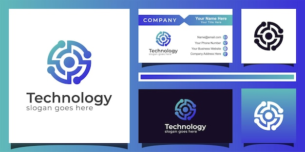 Gradient circle technology blue color logo design of abstract letter o, eye tech logo vector with business card