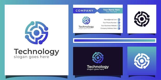 Градиентный круг технологии синий цвет дизайн логотипа абстрактной буквы o, глаз tech логотип вектор с визитной карточкой