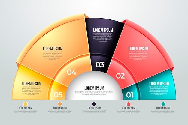 Modello di infografica diagramma circolare gradiente