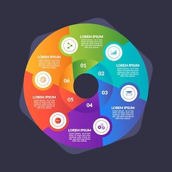 Градиент круговой диаграммы инфографики шаблон