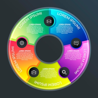 Градиент круговой диаграммы инфографики