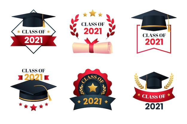 Gradient class of 2021 badge collection