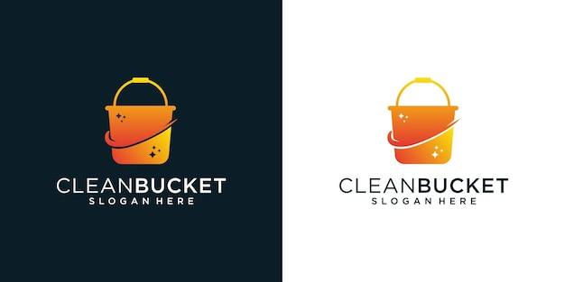 Gradient cleaner bucket logo design inspiration template element