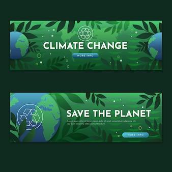 Set di banner per il cambiamento climatico sfumato
