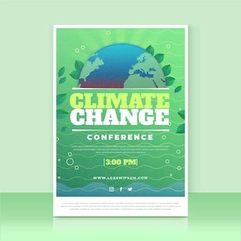 Modello di volantino sui cambiamenti climatici sfumati