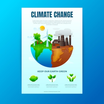Листовки с градиентным изменением климата Бесплатные векторы
