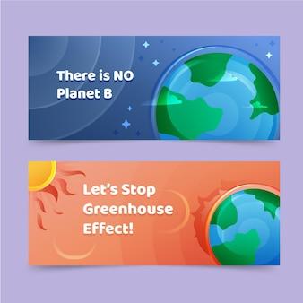 Set di banner orizzontali per il cambiamento climatico gradiente
