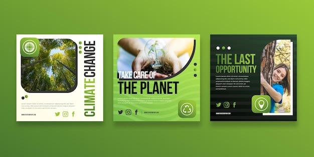Raccolta di post su instagram sul cambiamento climatico sfumato