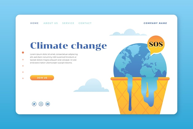 勾配気候変動ランディングページ