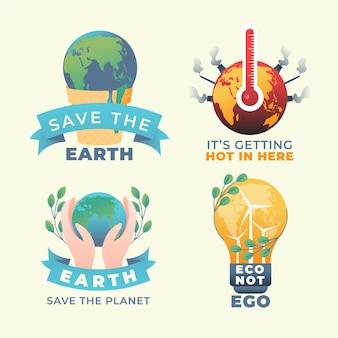 Set di banner quadrati di cambiamento climatico gradiente