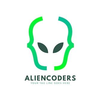 Логотип градиентного кода aliencoders