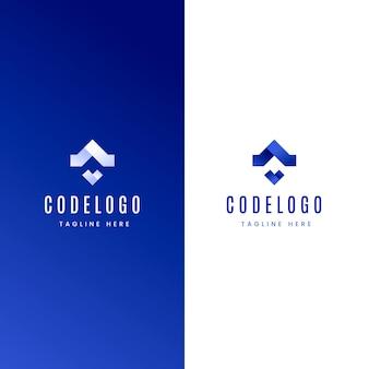 그라디언트 코드 로고 흰색과 파란색