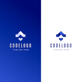 Gradient code logo white and blue