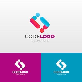 タグライン付きのグラデーションコードのロゴ