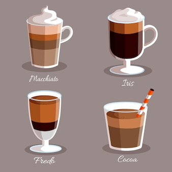 Gradient coffee types with milk and foam